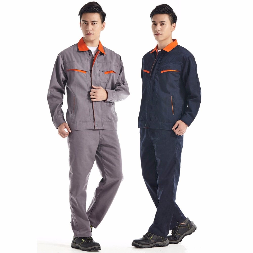 Men Work Clothing Sets Welder uniforms Wear-resistant Welding clothes Long Sleeve Jackets+Pants Male Working Factory Uniforms reflective of work clothes long sleeve work wear set male protective clothing work wear