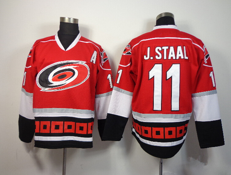 sports shoes ee9bf 72b31 ... discount code for top quality production carolina hurricanes 11 jordan  staal jersey mens home black red