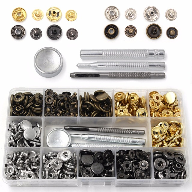 40-120 Pcs 4 Colors Snap Fasteners Leather Snaps Button Kit Jeans Press Studs with 4 Pieces Fixing Tools, 12.5 Mm In Diameter