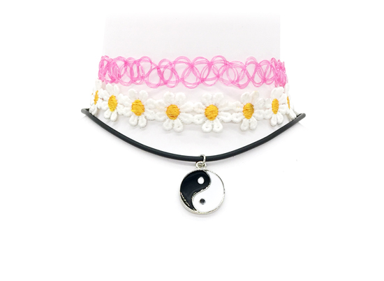 Yinyang Ras Du Cou 3 Pcs Ensemble Yin Yang Pendentif Fleur Chaine De