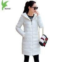 Autumn Winter Women Cotton Jacket Medium Length Coats Fashion Solid Color Parkas Hooded Thicker Plus Size