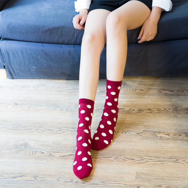 87a10fa62 New Socks Women Female Girl Cotton Polka Dot Pattern Fashion Brand Crew Happy  Funny Harajuku Novelty Design Calcetines Meias Sox-in Socks from Underwear  ...