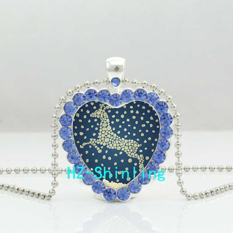 New Christmas Deer Crystal Heart Necklace Santa Clause Jewelry Christmas Gifts Silver Crystal Pendant Necklace HZ6