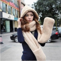 88'' Women Long Hat Scarf Cap Hand Keep Warm Piece Fashion Glove Hooded Fur Scarf Collar Winter Cute Gift Plush Wrap Stole Shawl