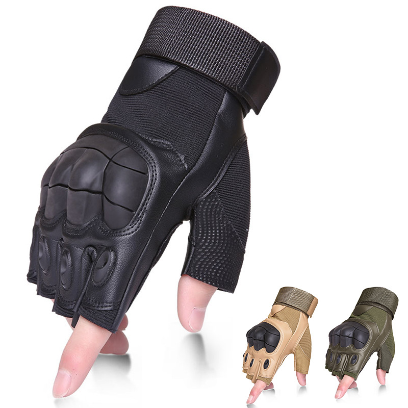 Tactical Gloves Military Army Combat Fingerless Airsoft Shooting Gear Carbon Knuckle Half Finger Fitness Genuine Leather Gloves