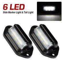 2pcs  6 Led Car Side Markers Light Cars Assembly 10-30V Tail Lights Univers Indicator Lamp For Truck Trailer Buses Boat