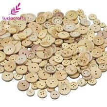 Lucia crafts 50 г/лот случайный смешанный размер натуральные круглые деревянные швейные пуговицы DIY материалы для скрапбукинга E0101