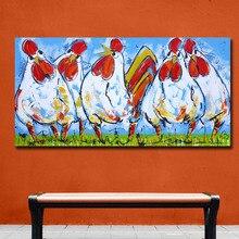 Мода Поп Книги по искусству картина маслом четыре петух на траве домашнего декора на холсте современных стены Книги по искусству Печать холст плакат холст картины