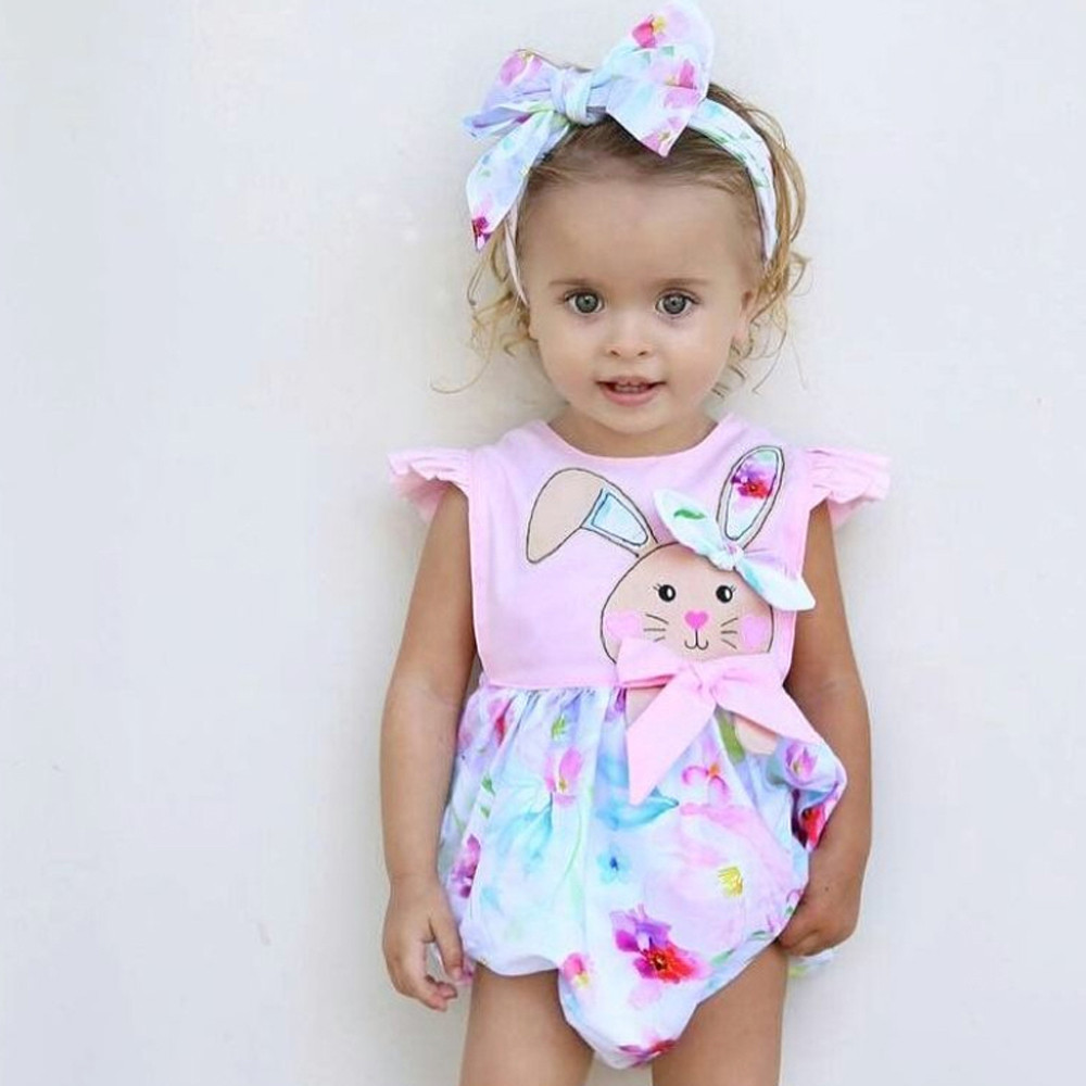 2018 Newborn Infant Baby Girls Cartoon Rabbit Romper Playsuit Bowknot Outfits Clothes costume for kids 3pcs newborn infant baby girl thanksgiving clothes set playsuit romper short pants bowknot outfit set