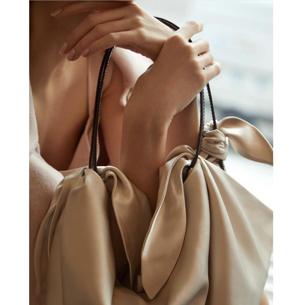 Inda creamy satin scarf bag Fashion Bloggers Bags with KNOT DETAIL With Faux crocodile leather straps