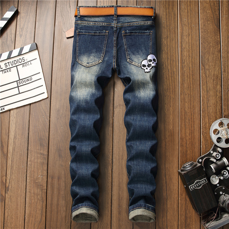 Mcikkny 2019 Mens Fashion Ripped Jeans Straight Patchwork Denim Trousers Hip Hop Skull Embroidered Jeans Pants For Male (5)