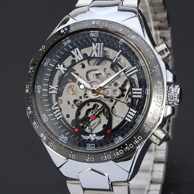 Russian Skeleton Automatic Watches For Men Silver Stainless Steel Wrist Watch Free shipping 0717 paradise 2016 classic new men black skeleton automatic mechanical stainless steel wrist watch free shipping may23
