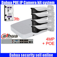 Dahua 4pcs 4MP POE IP Camera DH-IPC-HFW4421E System Security Camera Outdoor 8CH 1080P NVR4108-8P Kit H.264 Video Recorder