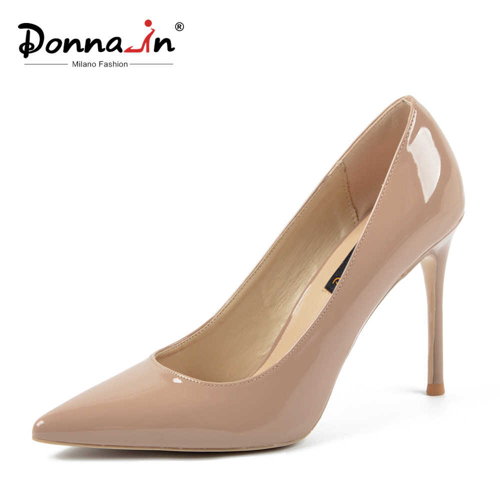 Donna-in Fashion Sexy Big Size Thin Stiletto High Heel Pumps Women Shoes Leather Black White Red Nude Ladies Work Shoes 10CM
