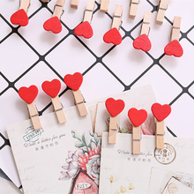 10PCS Mini Colorful Heart Love Wooden Clothes Photo Paper Peg Pin Clothespin Craft Postcard Clips Home Wedding Party Decoration