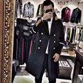 Горячая Черный синий повседневная Двойной брестед шерстяное пальто мужчины 2017 моды траншеи пальто мужские шерстяные куртки пальто dress зима S-XXL