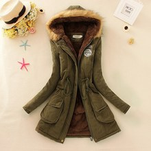 winter warm long woman parkas appliques pockets cute solid zipper hooded thick female sleeve