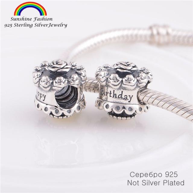 Pandulaso 925 Sterling Silver Jewelry Findings Happy Birthday Cake
