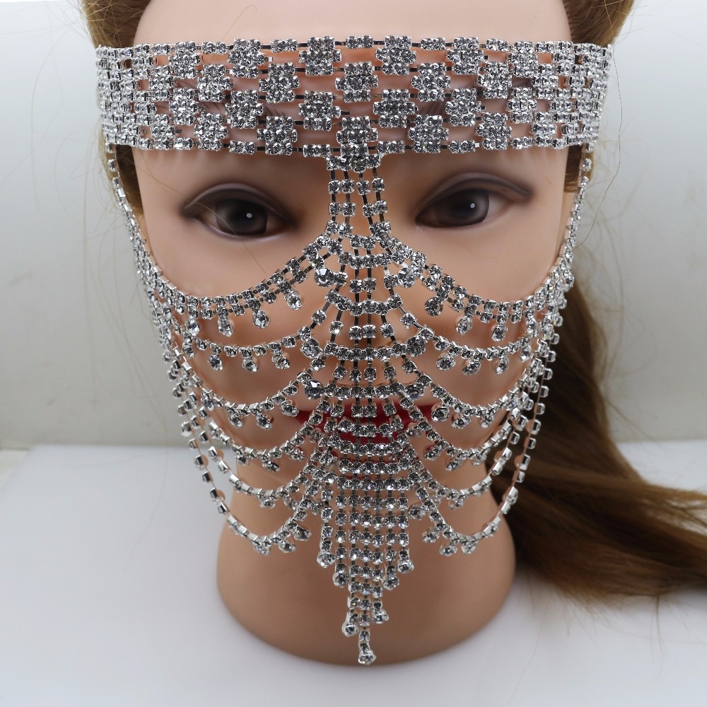 1pcs Elegant Diamond Rhinestone Mask Sexy Hallowmas Venetian Bauta Full Face Mask Mask Party Dance Mask Masquerade Cosplay Decor