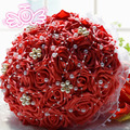 Custom made Red Brides Bouquet Wedding Flowers Art Handmade Simulation Rose Flower And Pearls Bride Bridal Wedding Bouquets D195