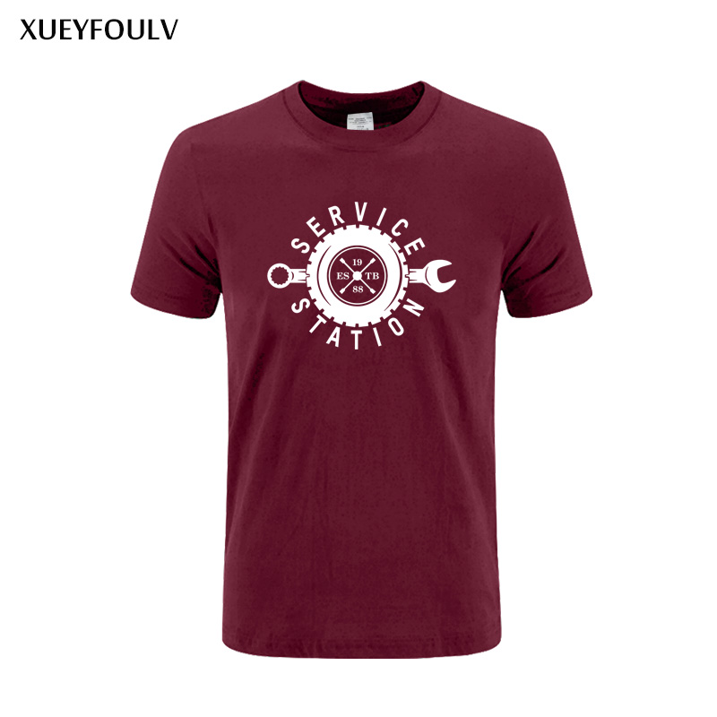 2018 Printed tyre T shirt Auto repair service station Men Summer Fashion Bank Printing Tshirt Casual Short Sleeve O-neck Tee