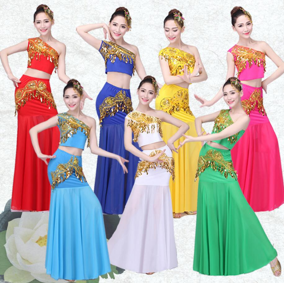 2019 Belly Dance Costume Indian Traditional Dress Peacock Women Adult Indian Bollywood Dress Fish Tail Leotard Girl Dancewear