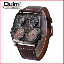 OULM Hombres Reloj Original 2016 Nuevo Fashion Square Reloj de Múltiples Funciones del Compás Militar Del Ejército de Cuero de Cuarzo Relojes de Los Hombres