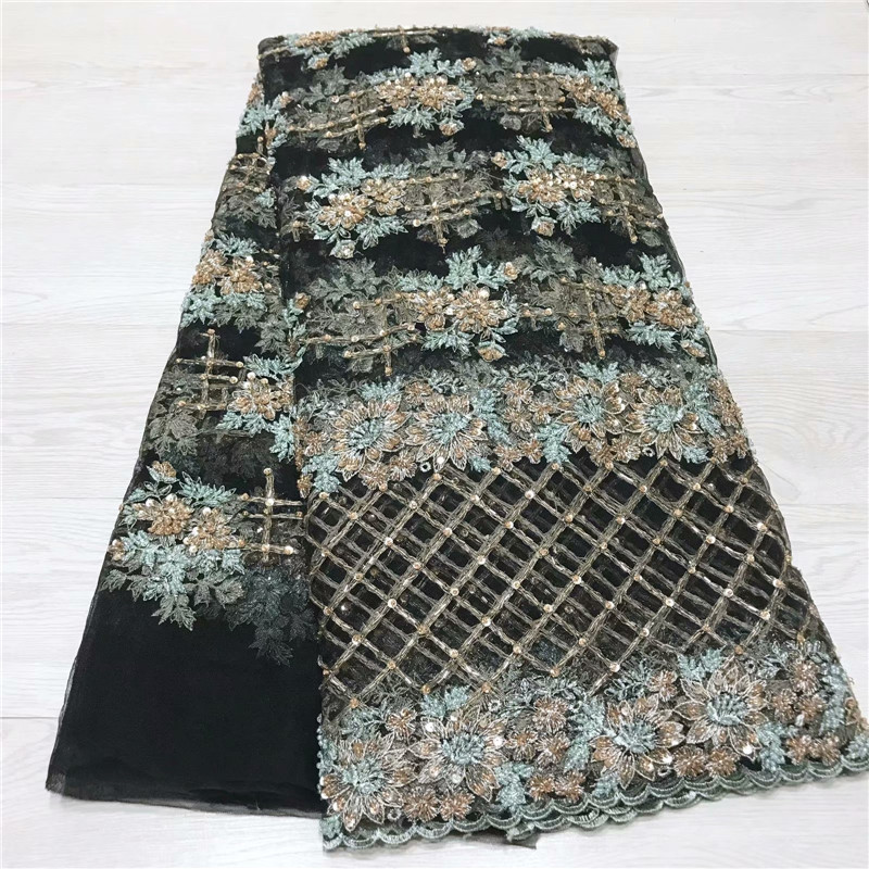 Hot Sale African Tulle Lace Fabric High Quality 3D Beads Fabric Embroidery Tulle Laces Fabrics For African Laces Party jy65 2518