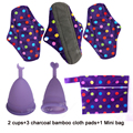 Beautiful Regular Cloth Sanitary Pads Charcoal Bamboo Mama Cloth Menstrual Pads 3 PCS With 2 Menstrual Cups With 1 Mini Wet Bag