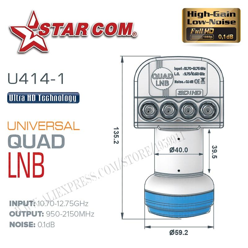 STAR COM Universal QUAD LNB Untuk Penerima TV Satelit KU BAND LNB - Audio dan video rumah - Foto 3