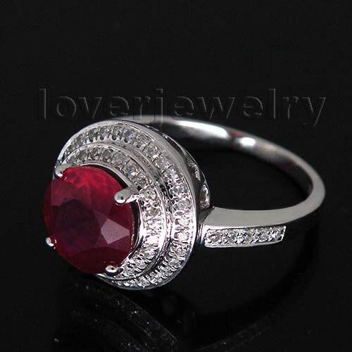 Фантазии сплошной 14Kt белого золота 3.33ct diamond натуральный рубин кольцо, обручальное кольцо распродажа