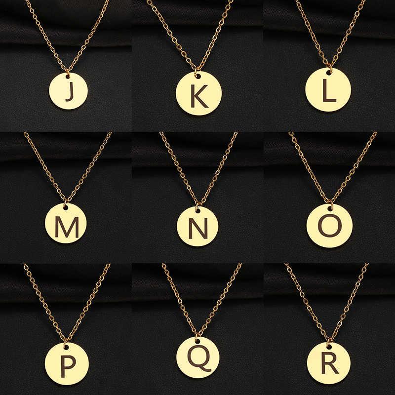 CACANA 新 26 手紙初期ネックレスシルバーゴールドカラーディスクネックレスアルファベット女性友人家族の手紙ネックレス