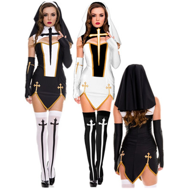 Virgin Mary <font><b>Sexy</b></font> Nun Costume Adult Women Cosplay Dress With Black Hood For <font><b>Halloween</b></font> Sister Cosplay Party Costume Nun Outfits image