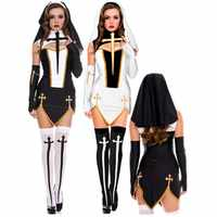 Virgin Mary Sexy Nun Costume Adult Women Cosplay Dress With Black Hood For Halloween Sister Cosplay Party Costume Nun Outfits