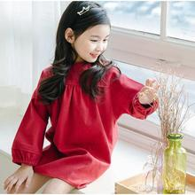 2016 New Cotton Long Sleeve Tees Vintage Red Color Fall Winter Loose Blouse Fashion Holiday Party Clothing
