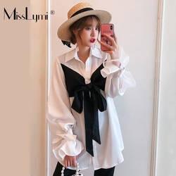 XL-5XL плюс размеры дамы белая блузка Осень 2019 г. Корейская мода большой бабочка с расклешенными рукавами Свободные Повседневное Топ для женщи