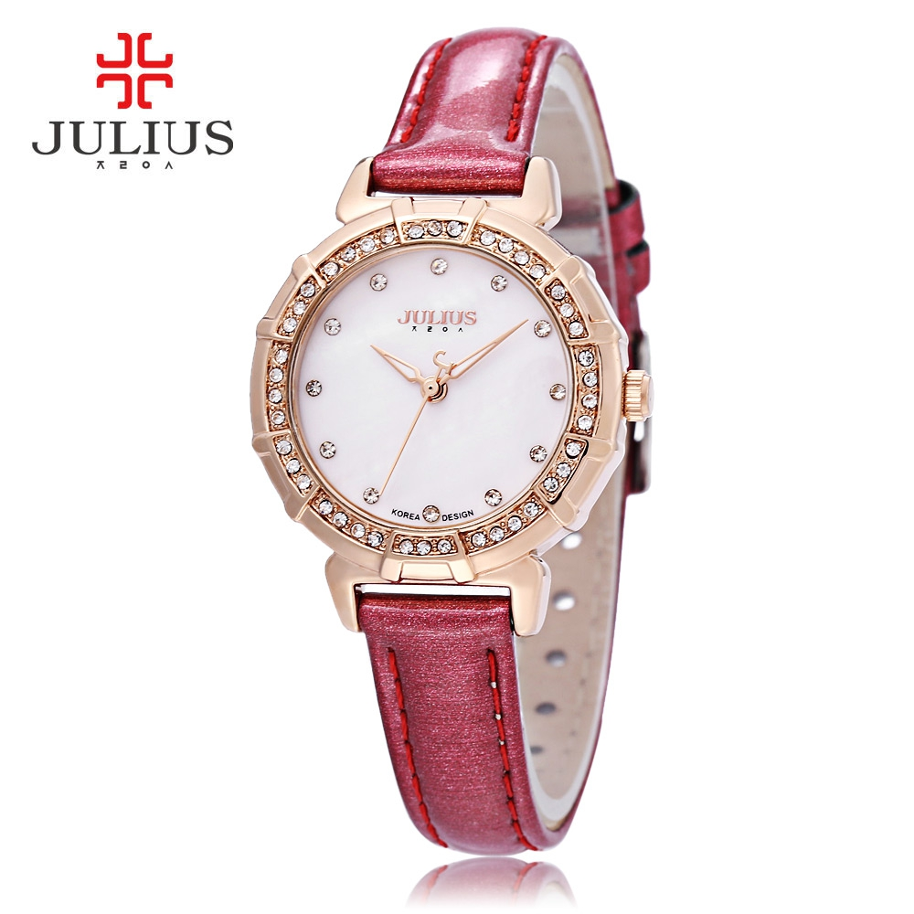 Julius Women Quartz Watch 3ATM Rhinestone Dial Bezel Slender Genuine Leather Band Wristwatch jubaoli rotatable bezel male watch quartz leather strap wristwatch