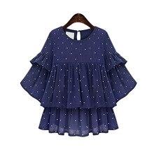 New style 2017 summer new women fashion loose dot chiffon Blouse female top girls sweet half-sleeve shirt XL-5XL