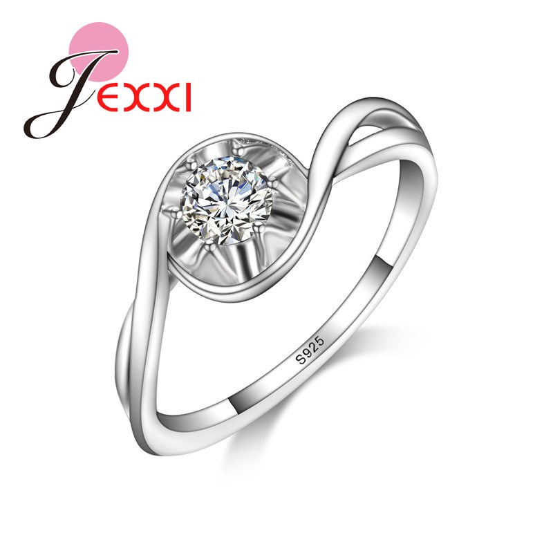 JEXXI Wedding Jewelry 925 Stamped Silver Rings For Women Zircon CZ Crystal Party Gifts Valentine's Day Engagement Lady Rings