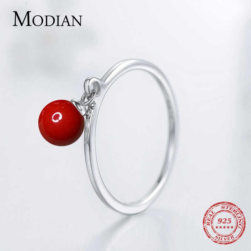 موديان الصلبة 925 فضة خواتم الموضة اللون الأحمر رائعة قذيفة اللؤلؤ البنصر للنساء الاسترليني والفضة والمجوهرات