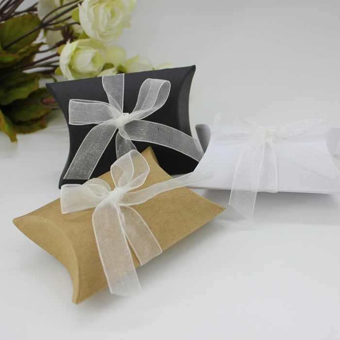 Festival Supplies Kotak Permen Tas Coklat Kertas Hadiah Paket untuk Ulang Tahun Pernikahan Pesta DIY Kraft/Whit/Hitam bantal WH