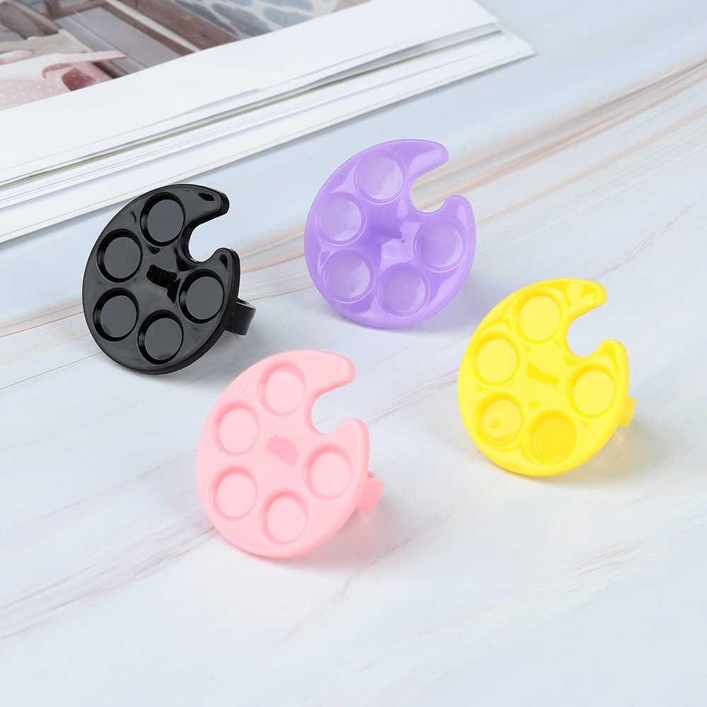2pcs พลาสติกเล็บ Palette Mini Finger แหวนจาน UV เจลจิตรกรรมผสมวาดรงควัตถุผู้ถือกรณีเล็บเครื่องมือ