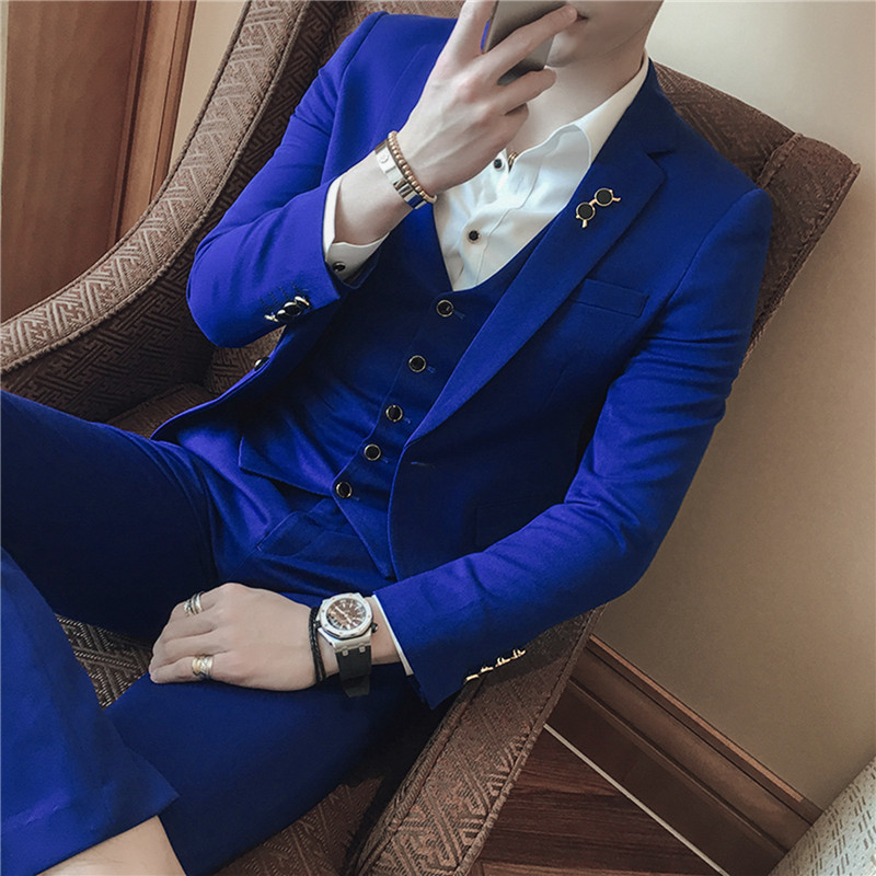 3 шт. Фирменная Новинка Для мужчин s пиджак Формальные Бизнес Блейзер Для мужчин Жених 3 предмета Slim Fit Одежда для вечеринки одной кнопки свад