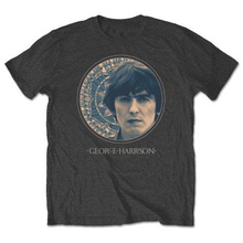 Design Tops MenS Short Sleeve Printed O-Neck George Harrison Circular Portrait Tee
