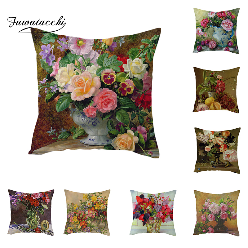Fuwatacchi Linen Fresh Flowers Cushion Cover Rose and Throw Pillow Colorful Square Pillowcases 45X45