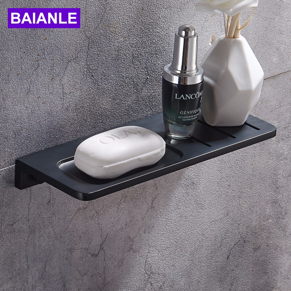 Free Shipping Modern Wall Mounted Lengthen Soap Dishes Space aluminum Rectangle Soap shelf Black Bathroom Shelfs Free Shipping Modern Wall Mounted Lengthen Soap Dishes Space aluminum Rectangle Soap shelf Black Bathroom Shelfs