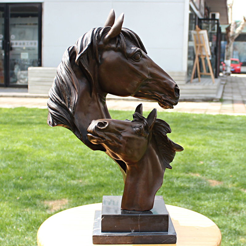 Double horse horse mascot bronze statue Home Furnishing copper crafts club business gifts decoration decorationDouble horse horse mascot bronze statue Home Furnishing copper crafts club business gifts decoration decoration