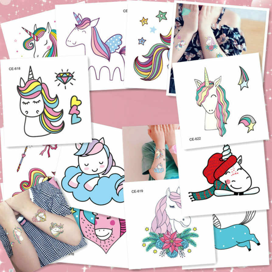 1Pc Colorful Cartoon Unicorn Temporary Tattoos Sticker Transfer Tattoos Body Art Waterproof Temporary Tattoos Girls Fake Tattoos