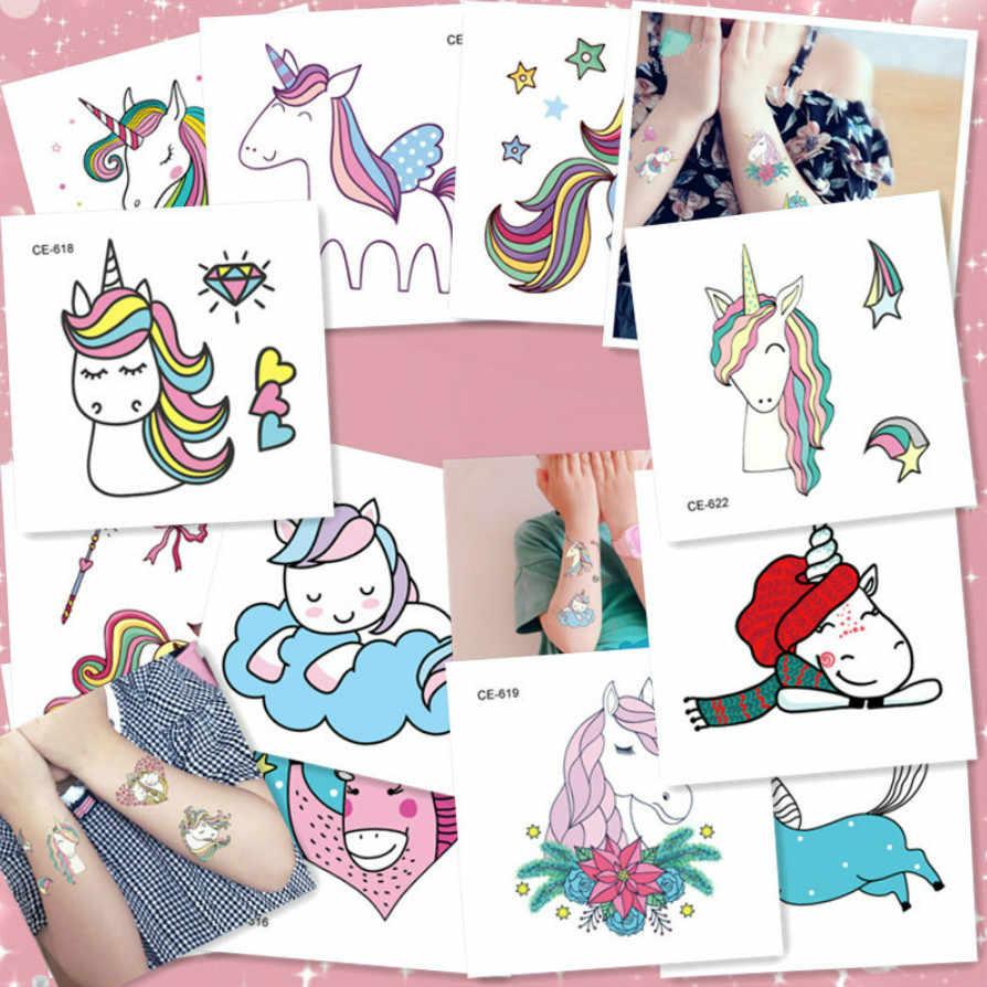 1 Pc Variopinto Del Fumetto Unicorn Tatuaggi Temporanei Sticker Trasferimento Tatuaggi Body Art Impermeabile Tatuaggi Temporanei Ragazze Falso Tatuaggi