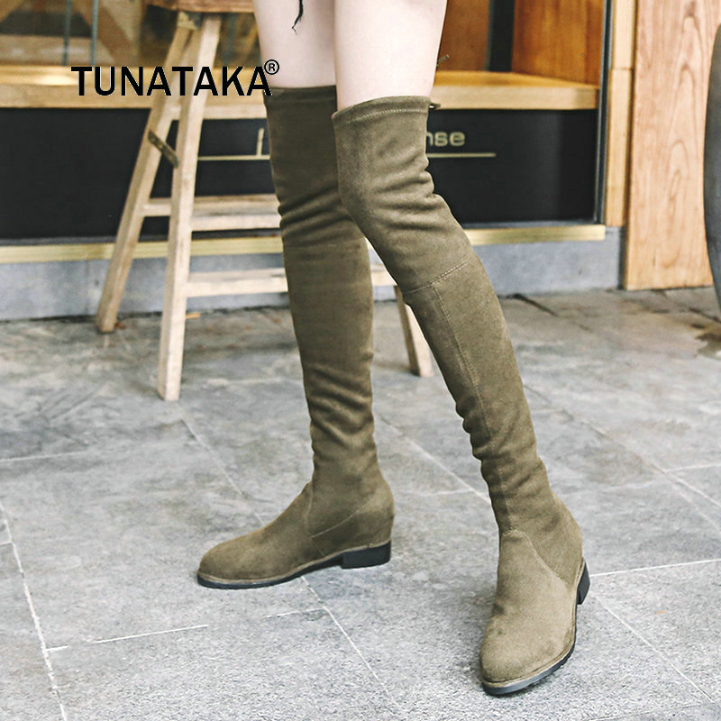 Female Stretch Fabric Comfort Low Heel Over The Knee Boots Fashion Round Toe Autumn Shoes Black Gray Army Green